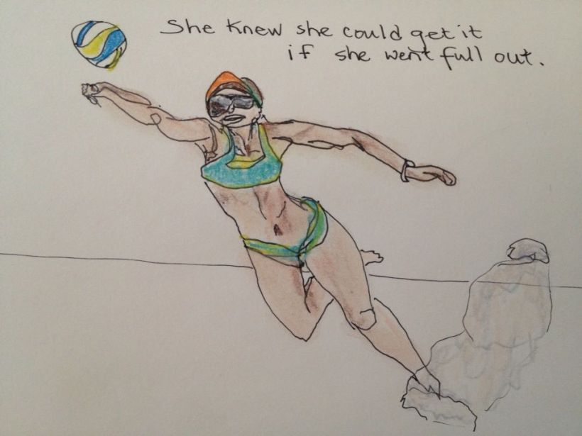volleyball player drawing